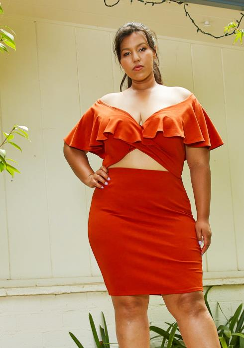 Asoph Plus Size Ruffle Crop Top & Skirt Set