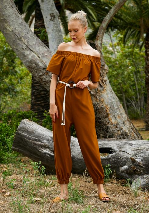 Tansy Off Shoulder Womens Camel Jumpsuit