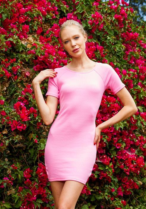 Tansy Pink Ribbed Women Mini Dress