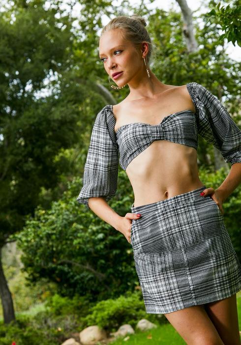 Tansy Black Plaid Womens Top & Mini Skirt Set