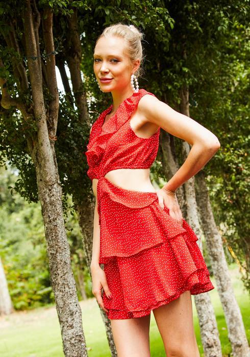 Tansy Womens Red Polka Dot Ruffled Dress