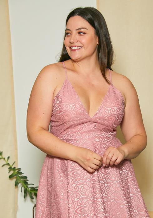 Asoph Plus Size Lace Flare Party Dress