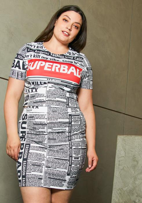 Asoph Plus Size Super Bad Newspaper Set