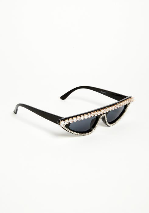Cubic Studded Cat Eye Sunglasses