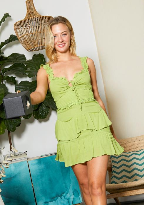Tansy Sour Lime Womens Ruffled Dress