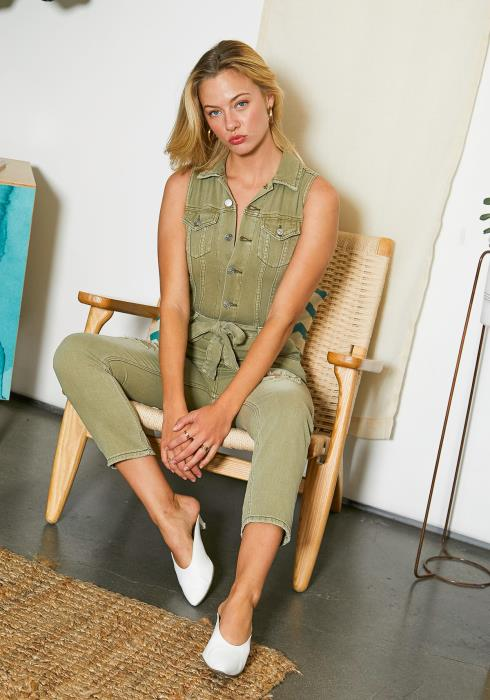 Tansy Sleeveless Womens Olive Denim Jumpsuit