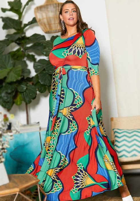 Asoph Curvy Womens Abstract Maxi Dress