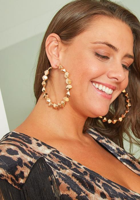 Elora Studded Texture Hoop Earrings