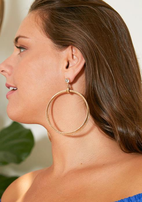 Mayview Diamond Stud Multi Hoops Earrings