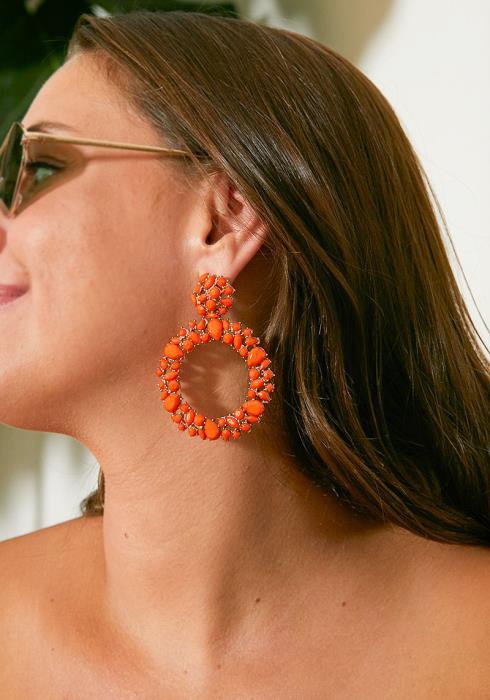 Mildmay Orange Gem Encrusted Hoop Drop Earrings