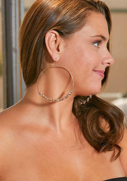Romaine Diamond Gold Twist Hoop Earring