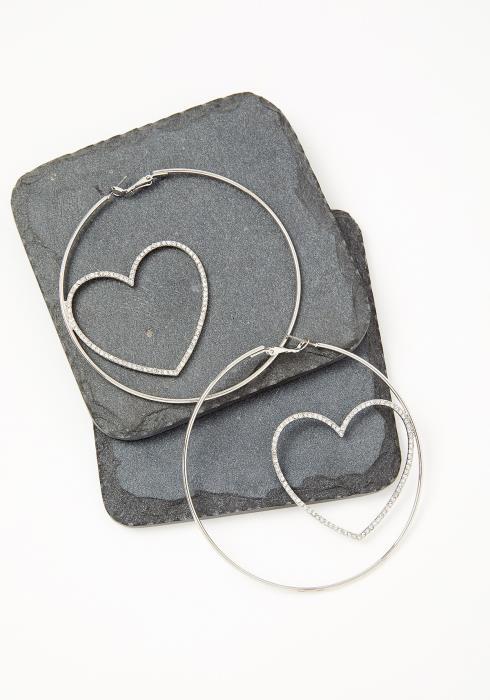 London Silver Heart Detailed Hoop Earrings