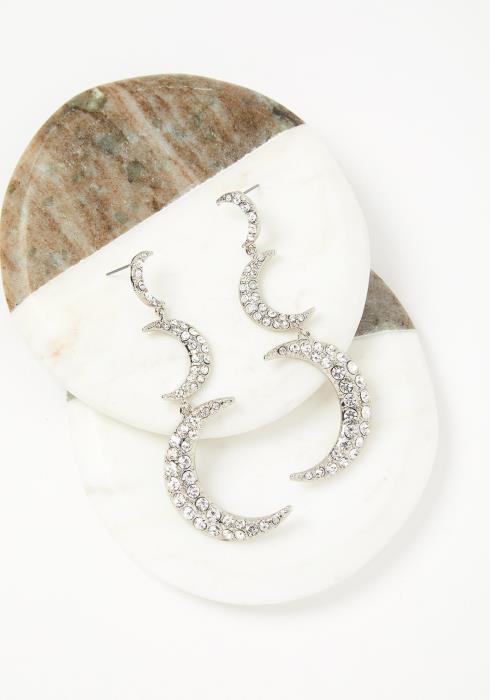 Crescent Diamond Moon Drop Earrings