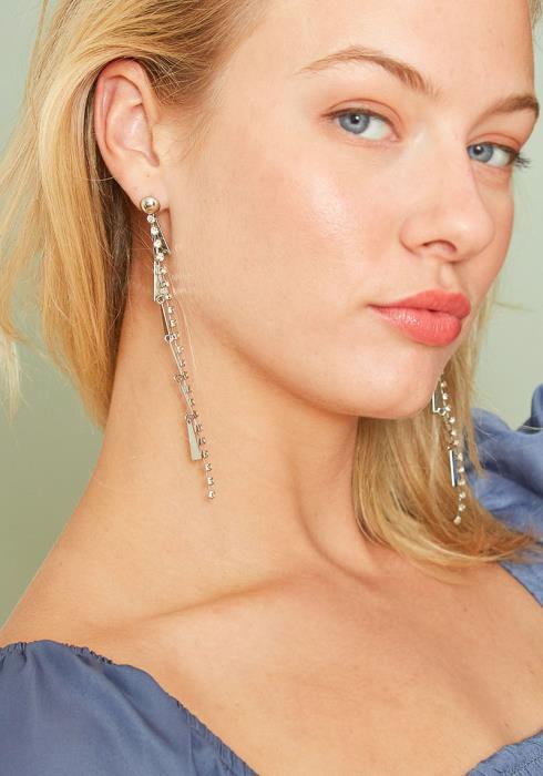Fortune Diamond Linear Drop Earrings