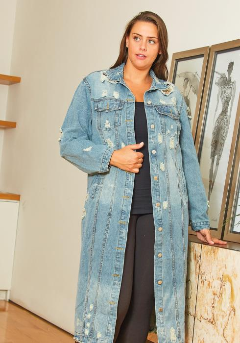 Asoph Plus Size Long Womens Denim Jacket
