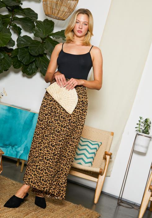 Tansy Womens Cheetah Print Maxi Skirt