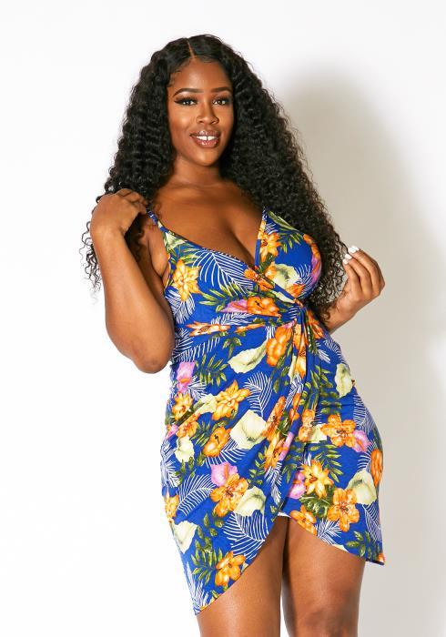 Asoph Plus Size Tropical Bae Women Dress