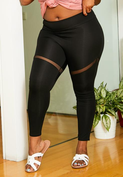 Asoph Plus Size Mesh Contrast Leggings