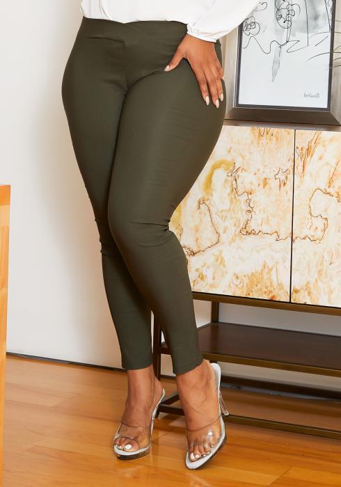 Asoph Plus Size Womens V Waist Skinny Pants