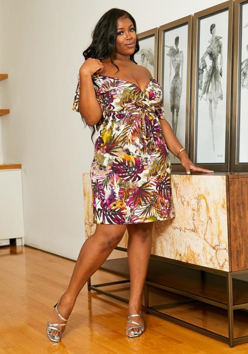 Asoph Plus Size Palms Panel Womens Off Shoulder Dress