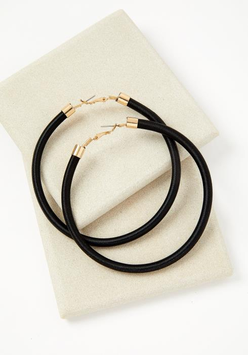 Phenix Black Hoop Earrings
