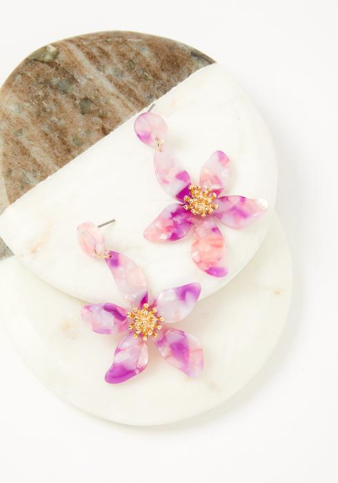 Pink Marbled Orchard Drop Earring