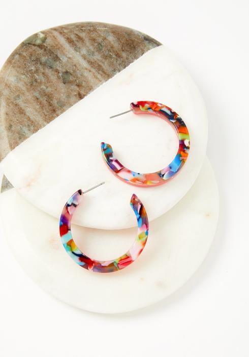 Perley Multi Color Marbled Half Hoop Earrings