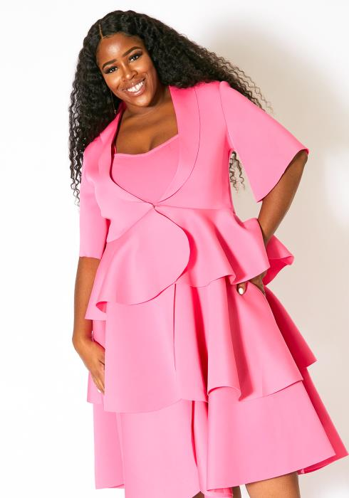 Asoph Plus Size Blazer & Ruffle Dress Set