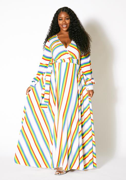 Asoph Plus Size Womens Rainbow Frenzy Maxi Dress