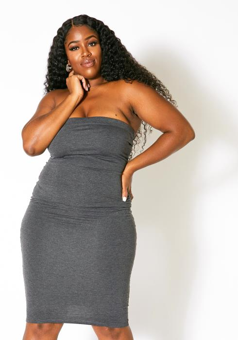 Asoph Plus Size Tube Top Must Have Bodycon Dress