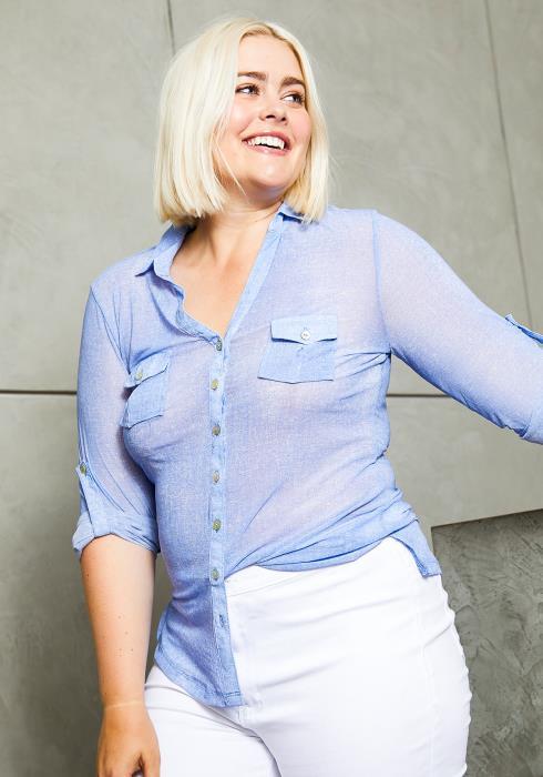 Asoph Plus Size Sheer Summer Womens Shirt
