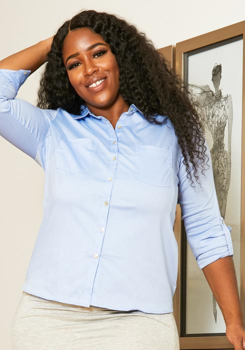 Asoph Plus Size Casual Collared Button Up Women Blouse