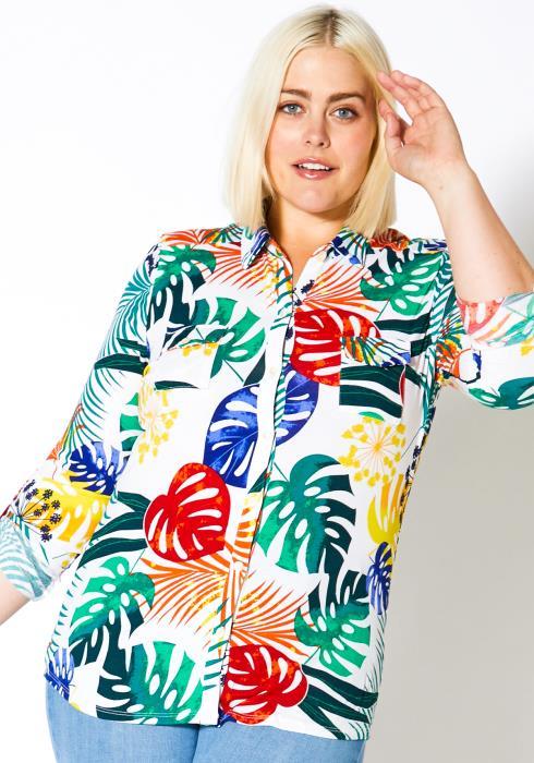 Asoph Plus Size Womens Palms Tree Top