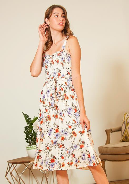 Tansy Efflorescence Patterned Womens Midi Dress