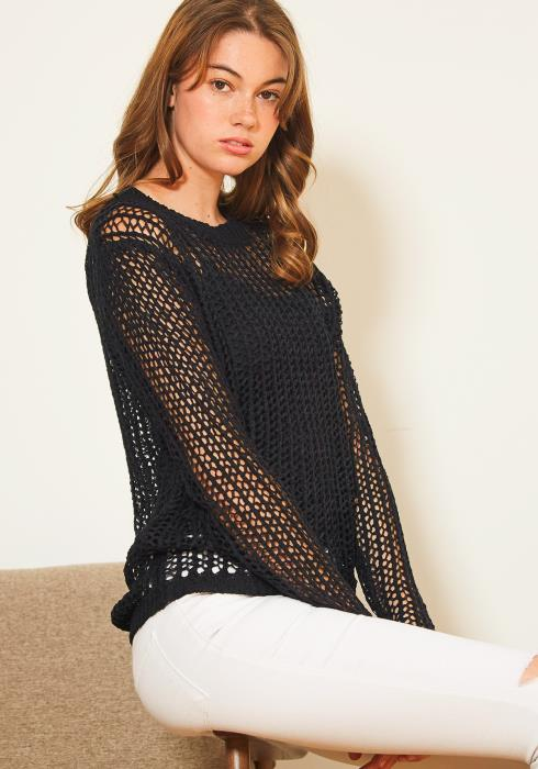 Tansy Womens Fishnet Sweater Blouse