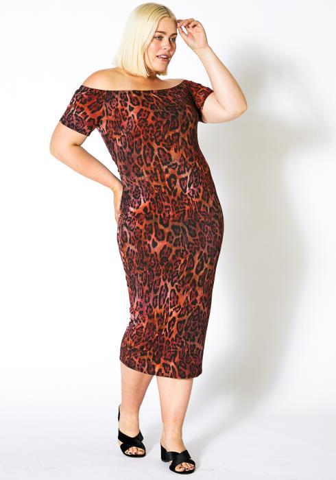 Asoph Plus Size Cheetah Bodycon Womens Dress