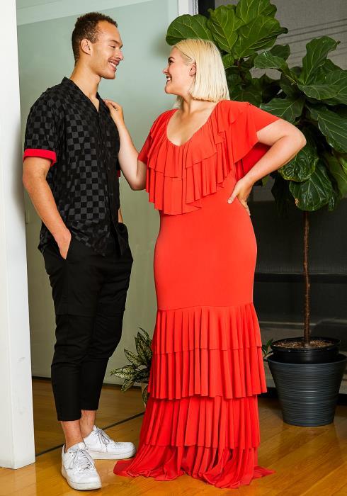 Asoph Plus Size Ruffle Hem Womens Mermaid Maxi Dress
