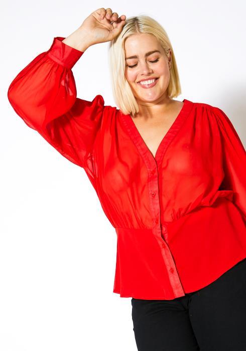 Asoph Plus Size Womens Peplum Elegant Blouse