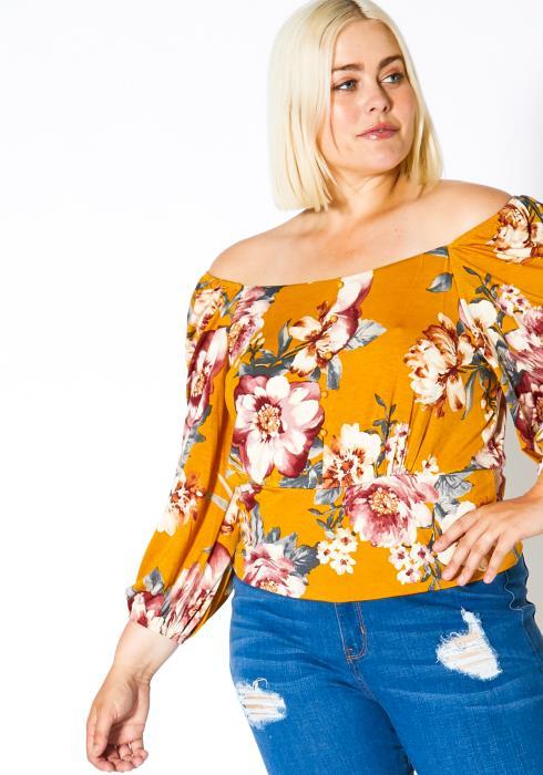 Asoph Plus Size Off Shoulder Womens In Bloom Top