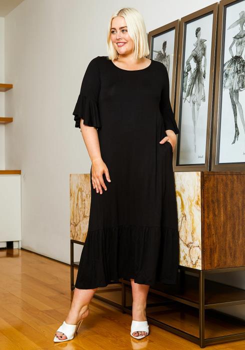 Asoph Plus Size Womens Back to Basics Maxi Dress