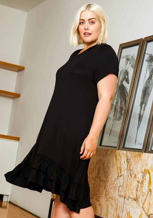 Asop Plus Size Simply Ruffled Womens Dress