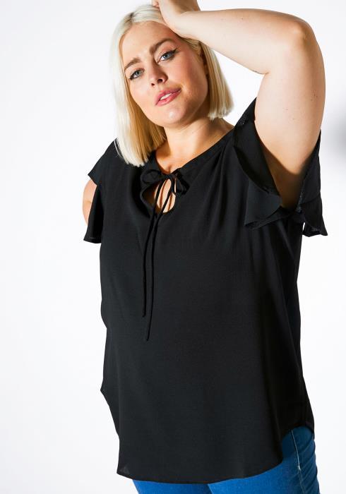 Asoph Plus Size Keyhole Bow Front Women Blouse