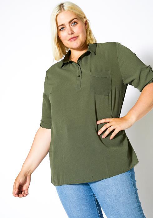 Asoph Plus Size Henley Neck Shirt Blouse