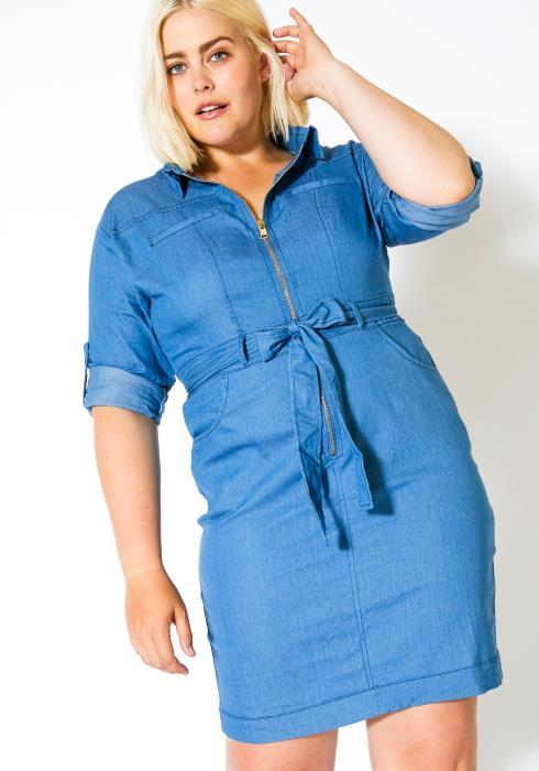 Asoph Plus Size Womens Collared Denim Dress