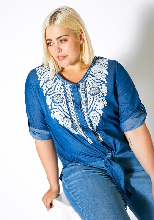 Asoph Plus Size Womens Embroidered Denim Button Up Blouse