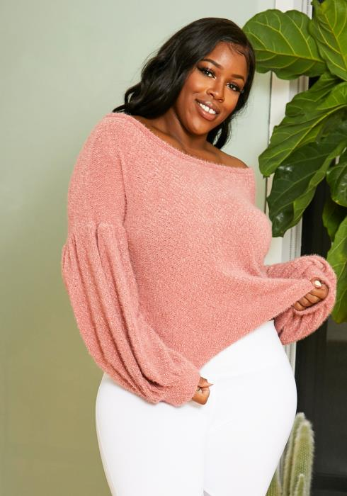 Asoph Plus Size Soft Puff Sleeve Sweater