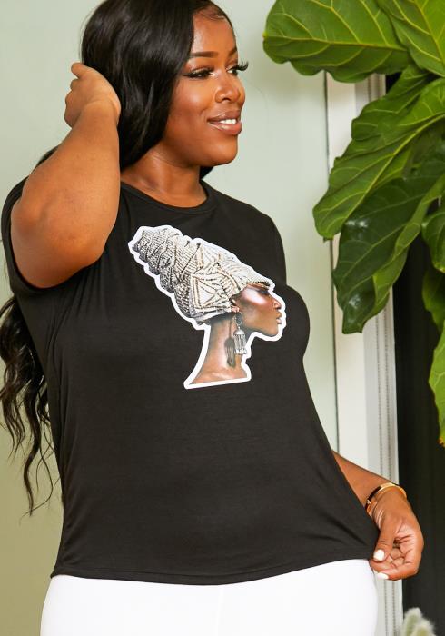 Asoph Plus Size Daily Women Glamorous Statement Graphic Shirt