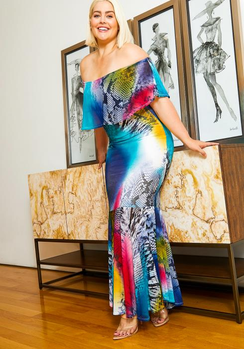 Asoph Plus Size Womens Vibrant Mermaid Maxi Dress