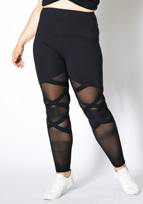 Asoph Plus Size Sheer Mesh Criss Cross Women Leggings