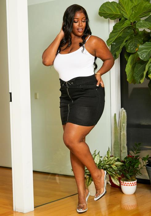 Asoph Plus Size High Waisted Black Denim Womens Zip Front Skirt
